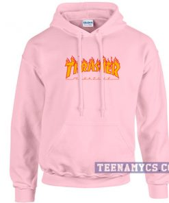 Pink thrasher flame hoodie