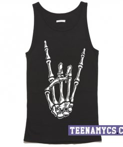 Skeleton Hand Horns Up Metal Sign Tank top