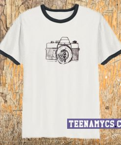 camera sketch ringer t-shirt